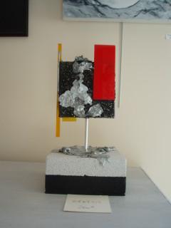 Génèsis 32cm x 16cm (toiles, acrylique, métal, aluminium, plexiglas, siporex)