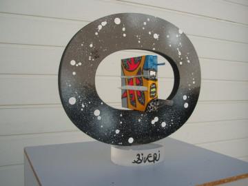 Big-bang 19cm x 31cm 29cm  (toiles, acrylique, métal,bois, plexiglas)
