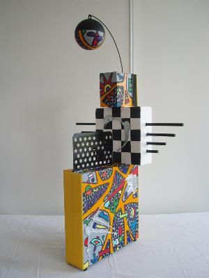 Le joueur d'orgue de barbarie   83cm x 31cm x 48cm (toiles, acrylique, métal, fer, pexiglas, bois, polystyrène)