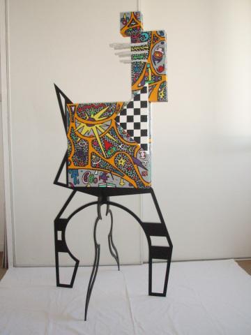 Animal   1,70m x 76cm x 74cm (toiles, acrylique, métal, fer )   vendu