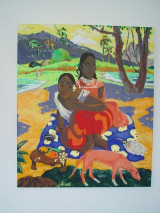 """Reproduction GAUGUIN """"Nafea Faa ipoipo ?"""" 60cm x 50cm + divers détails de tableaux de l'Artiste"""