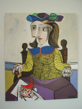 "Reproduction PICASSO ""Le pull over jaune"" 60cm x 50cm + divers détails de tableaux de l'Artiste"