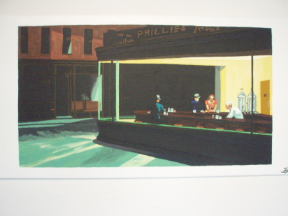 "Reproduction tableau de E. HOPPER ""Noctambules"" 40cm x 80cm"