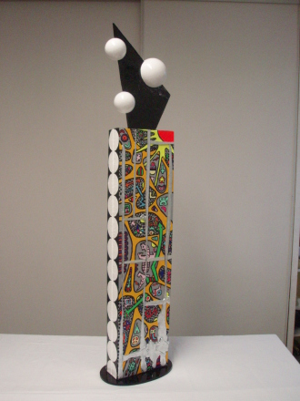 Le lézard rose (toiles, acrylique, métal, plexiglas, médium, polystyrène) 1,14m x 26cm x 18cm
