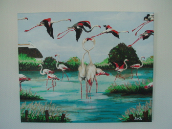 Flamants roses   60cm x 50cm   (vendu)