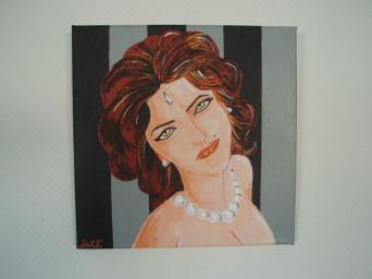 Femme au collier de perles   30cm x 30cm