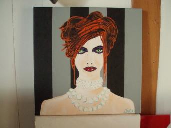 Jeune femme aux perles 30cm x 30cm