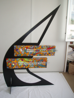 Eole   1,70m x 1,10m x 50cm (fer, métal, acrylique, toiles, polystyrène)